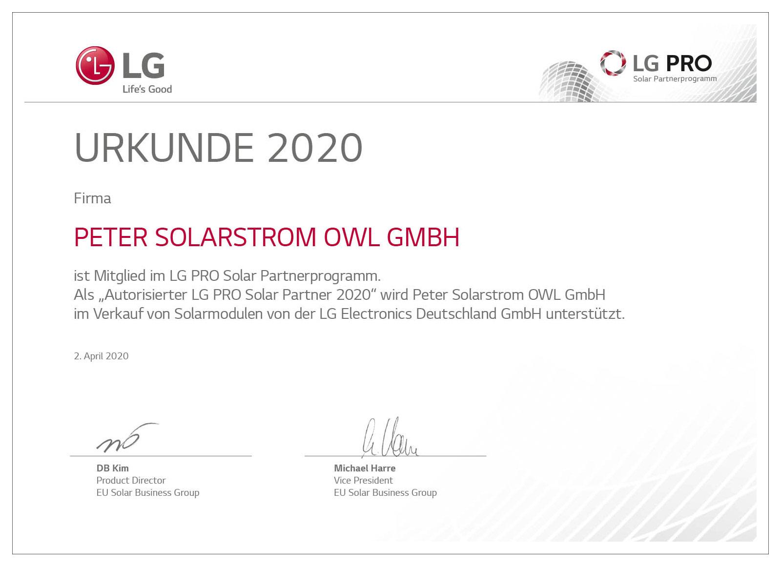 Peter Solarstrom OWL | News | LG PRO Autorisierter Partner Urkunde