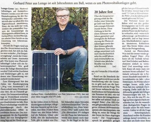 Peter Solarstrom OWL | LZ | Mit Sonnenenergie sinken die Stromkosten