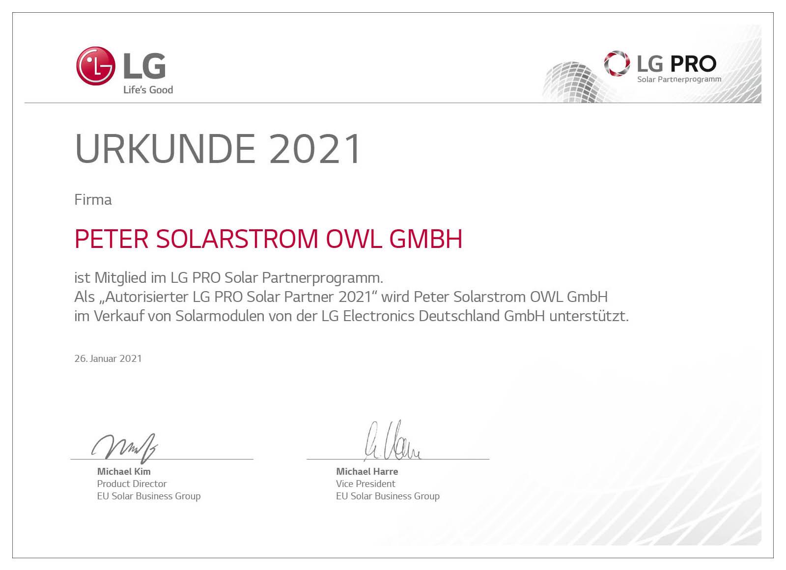 Peter Solarstrom OWL   News   LG PRO Autorisierter Partner Urkunde