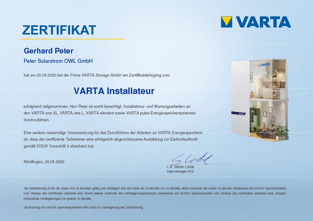 Peter Solarstrom OWL   VARTA Installateur Zertifikat